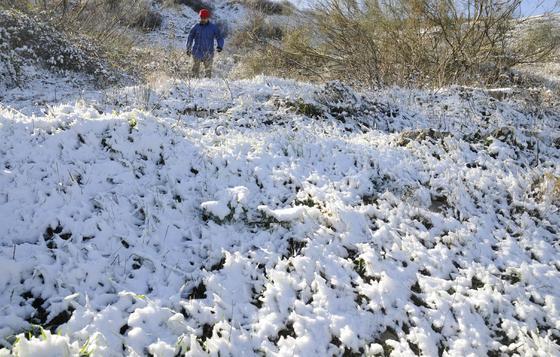 El campo se cubrió totalmente de blanco en la Sierra Norte.  Foto: B.Vargas/Juan Carlos Vázquez