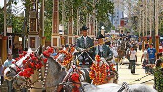 Un enganche con sus caballos en el parque González Hontoria.  Foto: Pascual