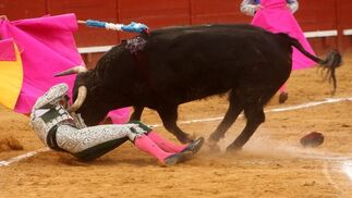 Este toro de Mari Carmen Camacho a punto estuvo de cornear a este subalterno  Foto: Juan Carlos Toro