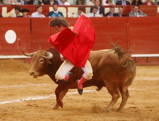 Por vez primera en sus diecisiete temporadas de matador de toros, se vio un salto de la rana de Manuel Díaz en la plaza de Jerez.  Foto: Juan Carlos Toro
