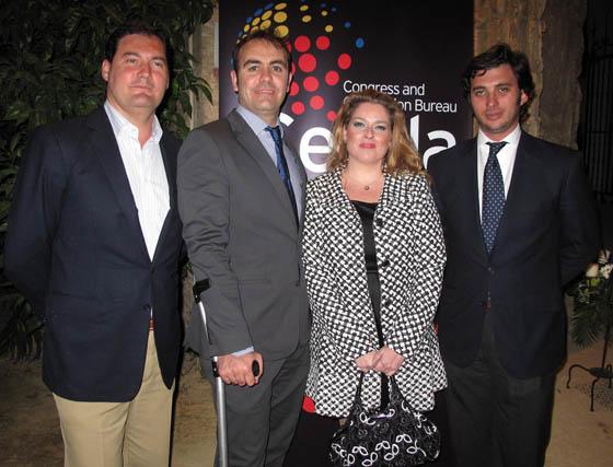 Diego Torres (Catering Merlot), Eduardo López Guimera (Agencia H2E) Lidia Díez Franco (LD Eventos) y Rafael Peralta (Rancho el Rocío).  Foto: Victoria Ramírez