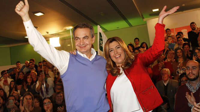 Zapatero y Susana Díaz, en un acto del PSOE