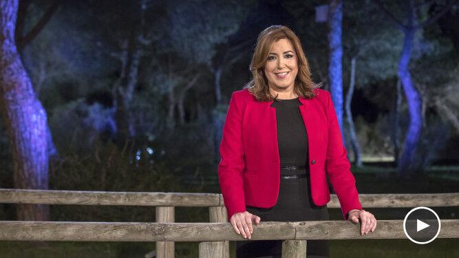Susana Díaz, durante el mensaje de Fin de Año en Doñana.
