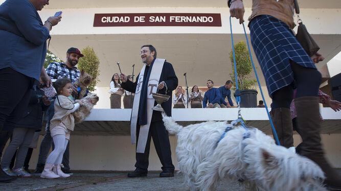 El párroco de la iglesia del Parque bendijo ayer a las mascotas por la fiesta de San Antón.