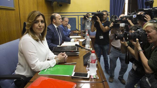 La presidenta de la Junta, Susana Díaz, el día de su comparecencia en la comisión de investigación de los cursos de formación.