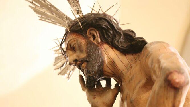 Primer plano de la talla del Cristo de la Humildad y Paciencia.