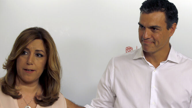 Susana Díaz y Pedro Sánchez, tras conocerse los resultados.