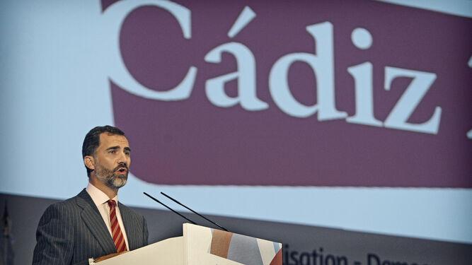 El entonces Príncipe de Asturias, en un acto celebrado en Cádiz en 2012.