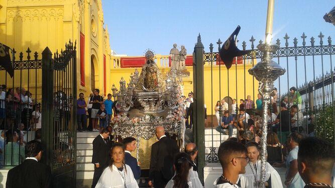 Vista de la titular de la Hermandad de la parroquia de San Sebastián.