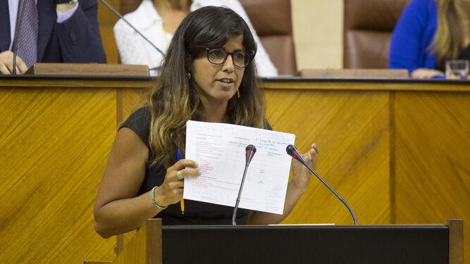 La coordinadora de Podemos, Teresa Rodríguez, durante una intervención en el Parlamento andaluz.
