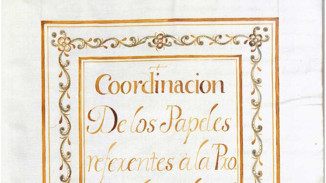 Reproducción de los libros de cuentas de la Compañía, junto a una imagen del fundador San Ignacio de Loyola.