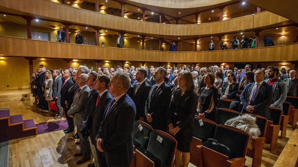 Aspecto que anoche presentaba el Teatro de La Isla durante el acto de la entrega del premio.