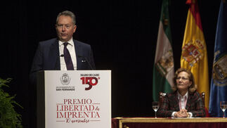 José Joly Martínez de Salazar, presidente del Grupo Joly, durante su intervención en el Teatro de Las Cortes tras recoger el premio.