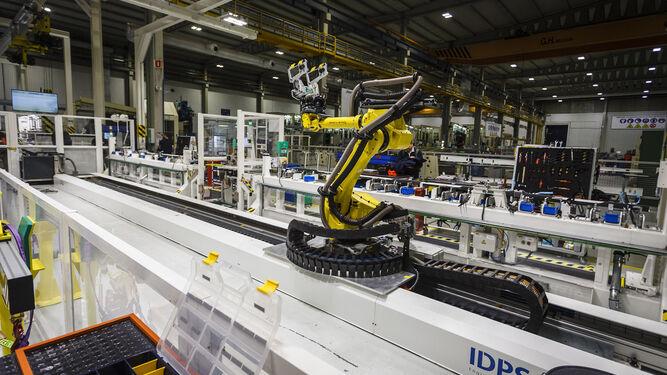 Línea de montaje automatizada del A320 en la factoría de Puerto Real.