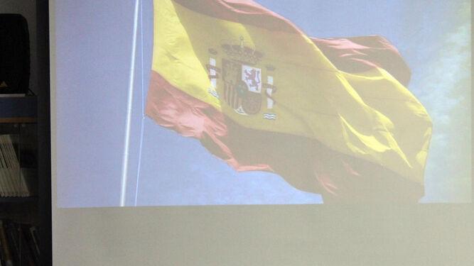 Agustín Muñoz durante la conferencia en el IES Antonio Muro.