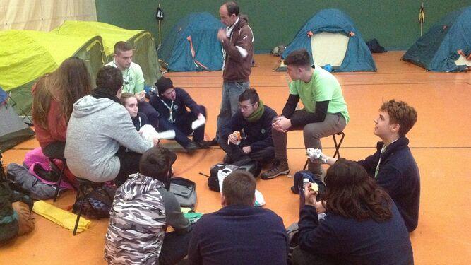 Un momento de la acampada