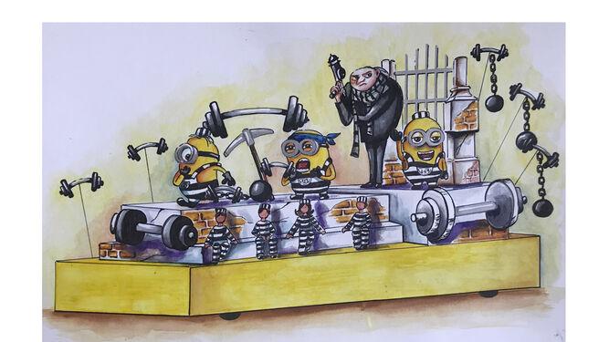 Carroza de Gru y los populares Minions