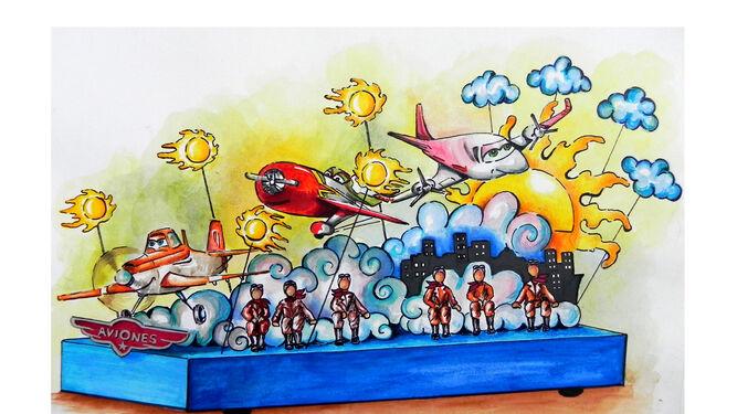 Carroza infantil centrada en la temática de la película 'Aviones'