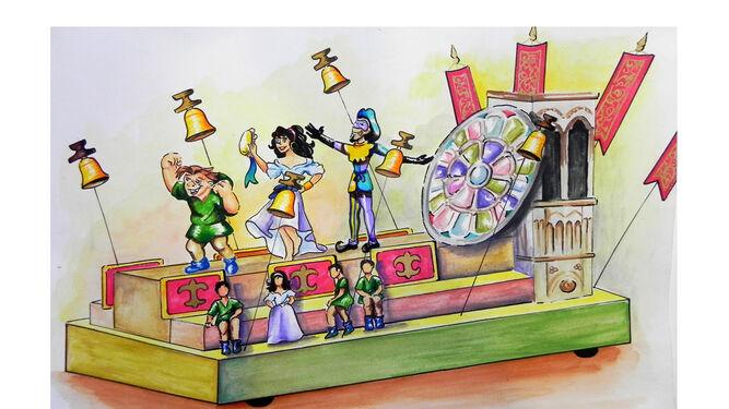 Otra carroza centrada en los personajes animados de 'El jorobado de Notre Dame'