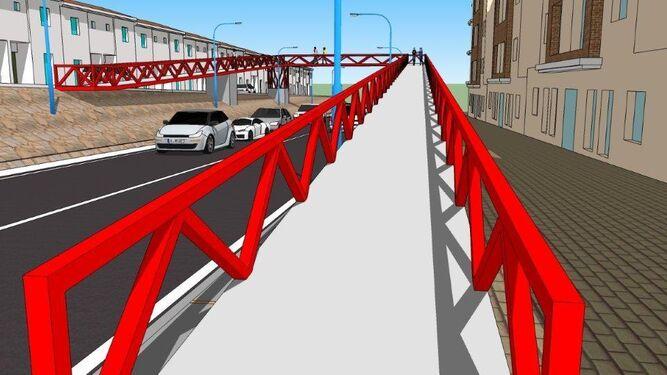 Imagen virtual que muestra cómo quedaría el viaducto peatonal que se quiere construir en un futuro próximo.