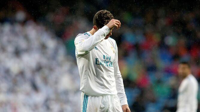 Cristiano Ronaldo, contrariado tras el gol del Villarreal.