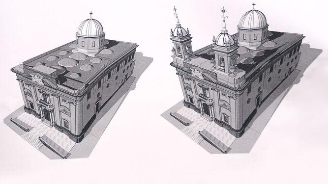 A la izquierda, el estado actual de la iglesia y a la derecha, la propuesta con las dos torres campanarios.