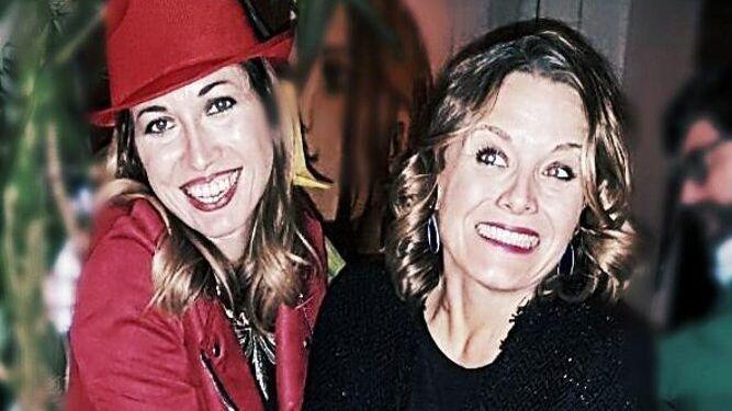 Las anfitrionas Pilar Villareal y Rebeca González, durante el festejo de sus cumpleaños.