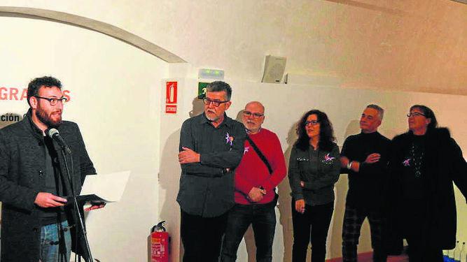 Daniel Garrido, Andrés Torres, Sergio Torres, Enma Lápiz, Francisca Bravo y María José Caro, durante la inauguración.
