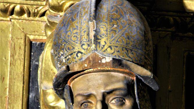 Un primer plano del Judas Macabeo del retablo de las Ánimas, en la Iglesia Mayor Prioral.