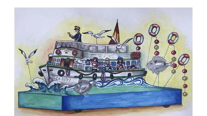 Boceto de la carroza 'Vaporcito'