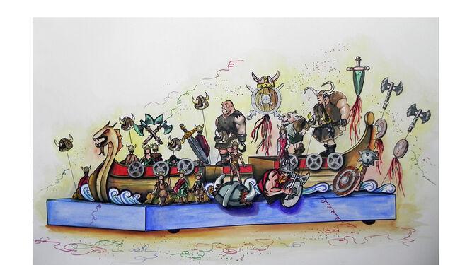 Boceto de la carroza 'Vikingos'