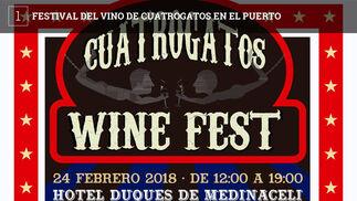 La firma Cuatrogatos celebra el sábado entre las 12 y las 19 horas una nueva edición de su festival del vino. La entrada es de 20 euros y la cita tiene lugar este año en el hotel Duques de Medinaceli, en la plaza de Los Jazmines, en El Puerto.