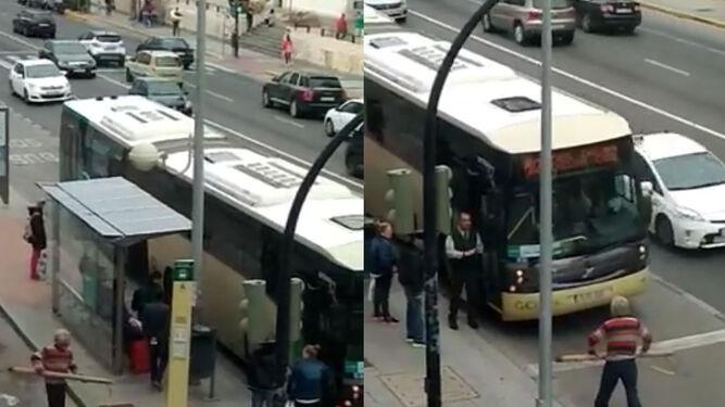 Detenido tras romper con un gran madero el parabrisas de un autobús