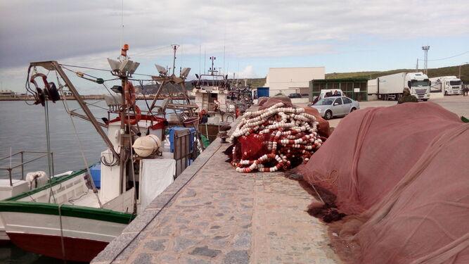 Varios pesqueros atracados en el puerto de Barbate.