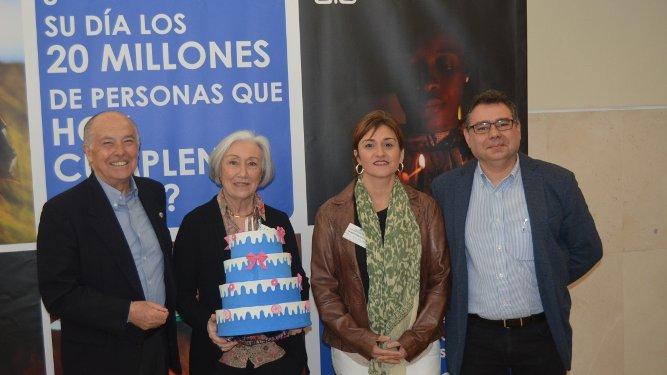 El delegado de Madre Coraje en Cádiz  y San Fernando Jaime Rocha, Carmen Bensusan, Sonia Benítez y Luis Cabello.