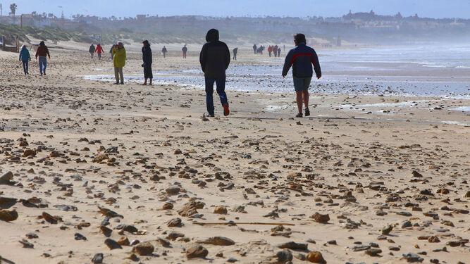 Aspecto de la playa de La Barrosa con la reaparición de piedras.