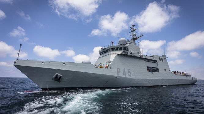 El BAM 'Audaz', durante las recientes pruebas de mar en aguas de la Bahía.