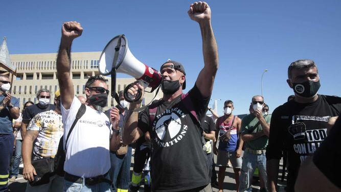 Protesta de trabajadores de la industria del metal, este lunes