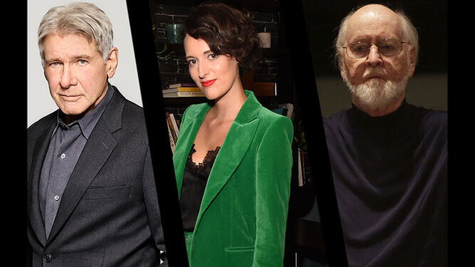 Harrison Ford, Phoebe Waller-Bridge y John Williams.