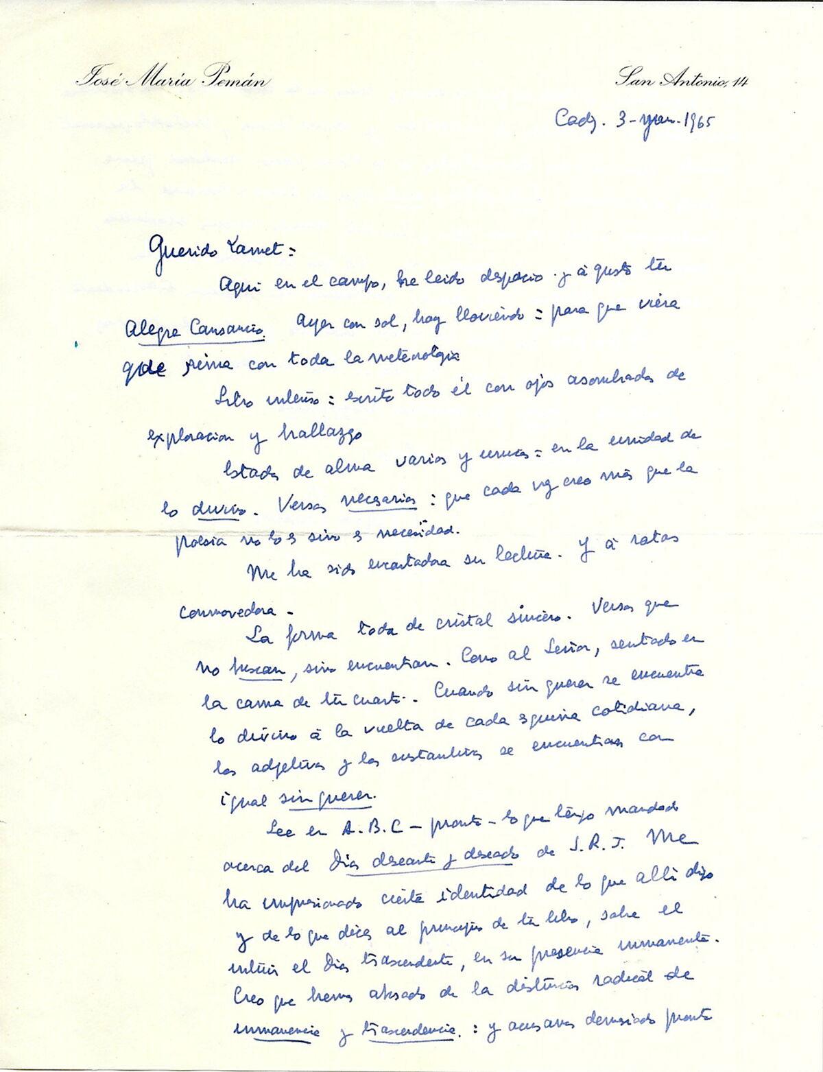 Primera parte de la carta escrita por Pemán a Pedro Miguel Lamet, con fecha en el encabezamiento de 1965.