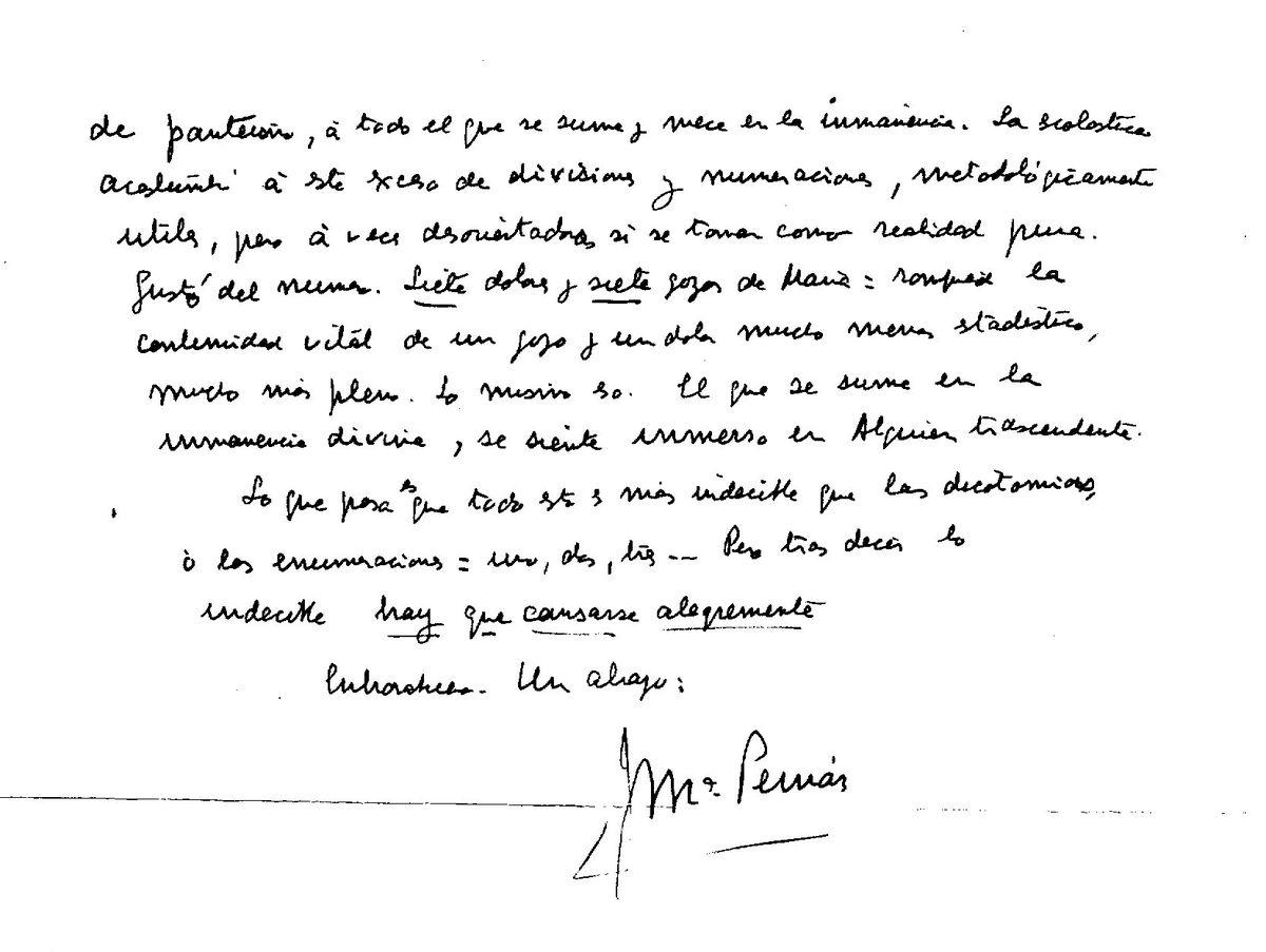 Segunda parte de la carta con la firma final de Pemán.